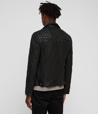 Mens Taro Leather Biker Jacket (Black) - Image 6