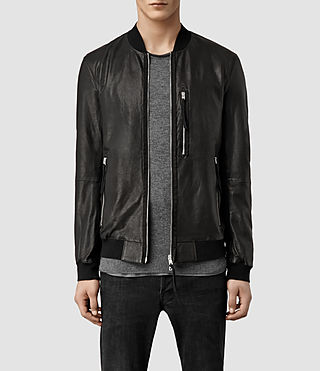 Men's Blenham Leather Bomber Jacket (Black)