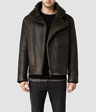 Men's Drayford Shearling Leather Jacket (Khaki)
