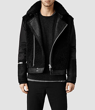 Men's Talbot Shearling Leather Coat (Black)