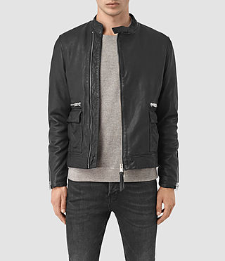 Hombres Kallow Leather Biker Jacket (Black)