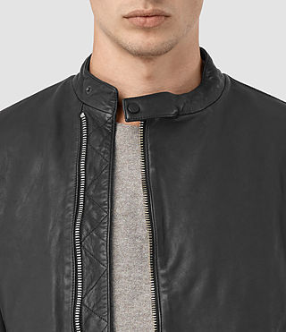 Hombres Kallow Leather Biker Jacket (Black) - product_image_alt_text_2