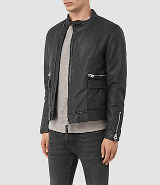 Hombres Kallow Leather Biker Jacket (Black) - product_image_alt_text_4