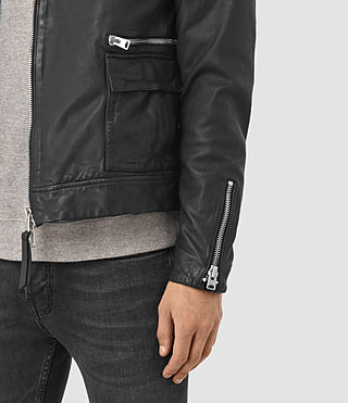 Hombres Kallow Leather Biker Jacket (Black) - product_image_alt_text_5