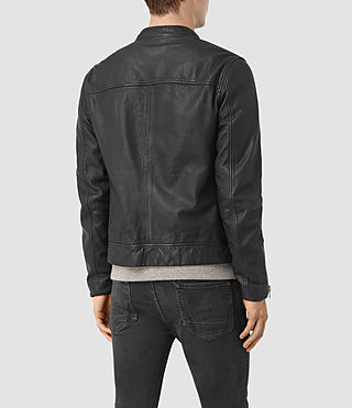 Hombres Kallow Leather Biker Jacket (Black) - product_image_alt_text_6