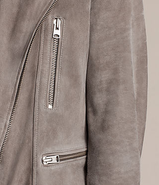 Hombres Kit Suede Biker Jacket (STONE GREEN) - product_image_alt_text_4