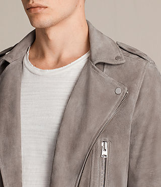 Hombres Kit Suede Biker Jacket (STONE GREEN) - product_image_alt_text_5
