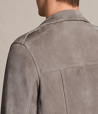 Hombres Kit Suede Biker Jacket (STONE GREEN) - product_image_alt_text_6