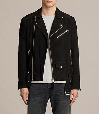 Hombre Bonson Suede Biker Jacket (Washed Black)