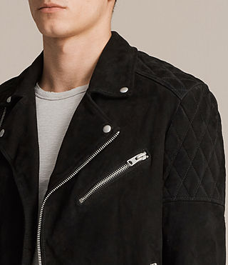 Mens Bonson Suede Biker Jacket (Washed Black) - product_image_alt_text_2