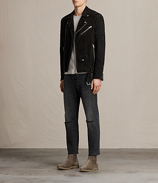 Mens Bonson Suede Biker Jacket (Washed Black) - product_image_alt_text_3