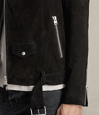 Mens Bonson Suede Biker Jacket (Washed Black) - product_image_alt_text_4
