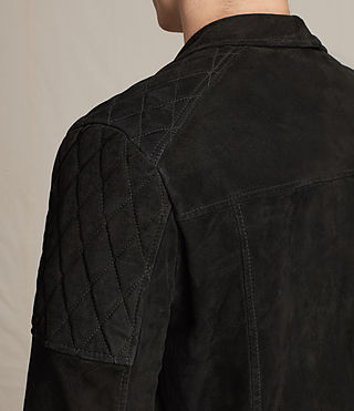 Mens Bonson Suede Biker Jacket (Washed Black) - product_image_alt_text_5