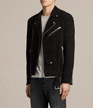 Mens Bonson Suede Biker Jacket (Washed Black) - product_image_alt_text_6