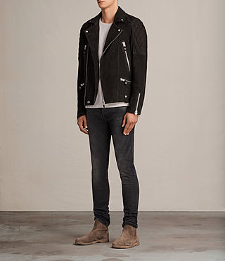 남성 킷서 바이커 재킷 (Washed Black) - product_image_alt_text_3
