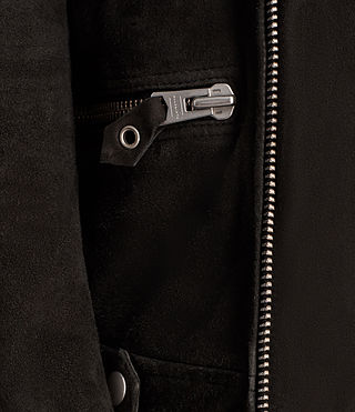 Men's Kitsir Suede Biker Jacket (Washed Black) - product_image_alt_text_4
