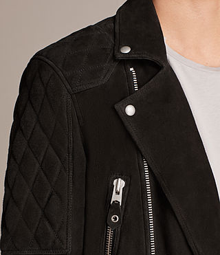 Men's Kitsir Suede Biker Jacket (Washed Black) - product_image_alt_text_7
