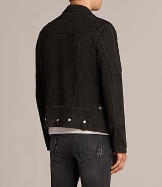 Men's Kitsir Suede Biker Jacket (Washed Black) - product_image_alt_text_8