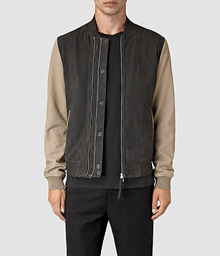 Uomo Avon Leather Bomber Jacket (STEEL BLUE/SHALE)