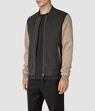 Mens Avon Leather Bomber Jacket (STEEL BLUE/SHALE) - product_image_alt_text_3