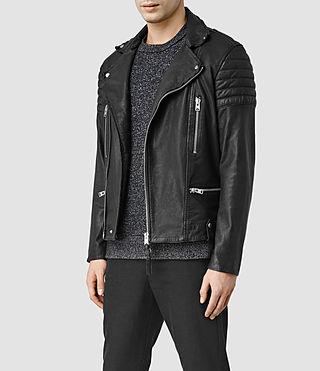 Mens Mishima Leather Biker Jacket (Black)