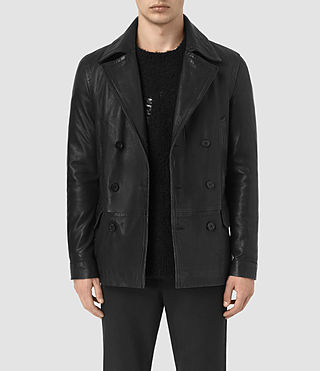 Hombre Tilson Leather Coat (Black)