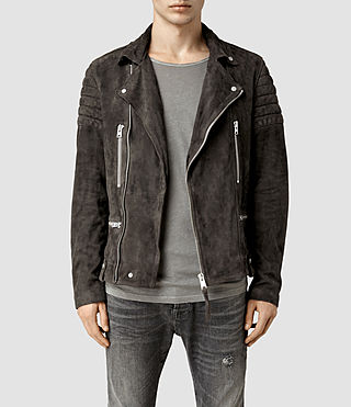 Mens Circuit Suede Biker Jacket (Slate Grey)