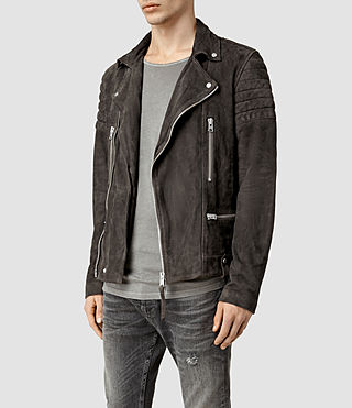 Mens Circuit Suede Biker Jacket (Slate Grey) - product_image_alt_text_2