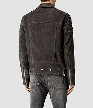 Mens Circuit Suede Biker Jacket (Slate Grey) - product_image_alt_text_3