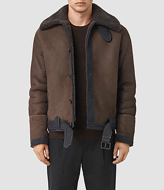 Mens Dachi Shearling Coat (Bitter Brown)
