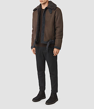 Uomo Dachi Shearling Coat (Bitter Brown) - product_image_alt_text_2