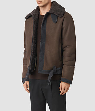 Uomo Dachi Shearling Coat (Bitter Brown) - product_image_alt_text_4