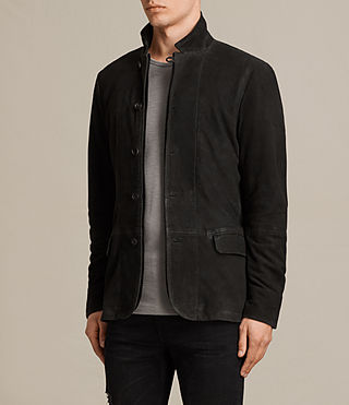 Men's Seymour Leather Blazer (Black) - product_image_alt_text_3