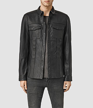 Mens Dangan Leather Shirt (Black)