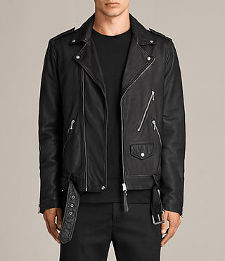 Mens Torrance Leather Biker Jacket (Black) - Image 1