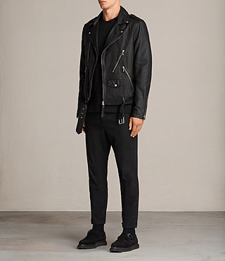 Mens Torrance Leather Biker Jacket (Black) - Image 3