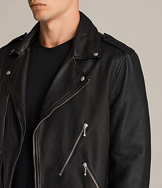 Mens Torrance Leather Biker Jacket (Black) - Image 4