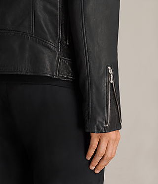 Mens Torrance Leather Biker Jacket (Black) - Image 5