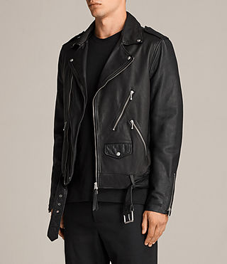 Mens Torrance Leather Biker Jacket (Black) - Image 6