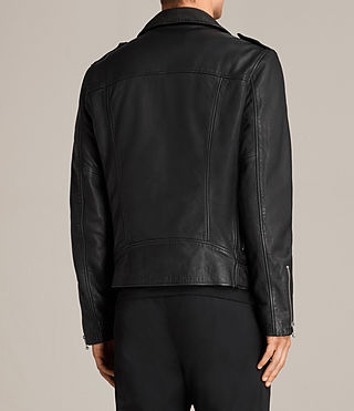 Mens Torrance Leather Biker Jacket (Black) - Image 7