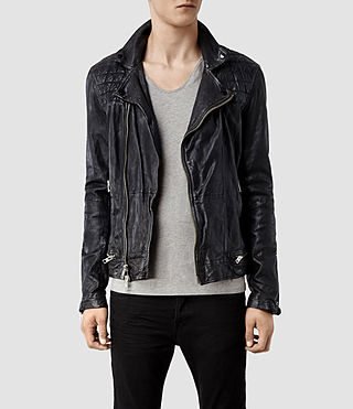 Men's Conroy Leather Biker Jacket (Ink) -