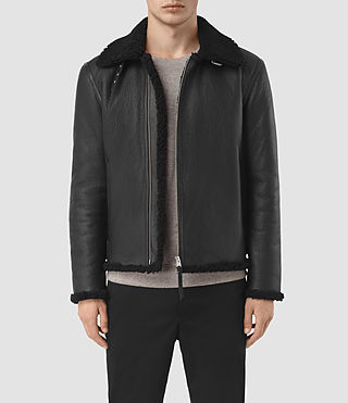 Mens Deklan Shearling Jacket (Black) - product_image_alt_text_1