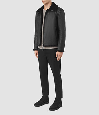 Mens Deklan Shearling Jacket (Black) - product_image_alt_text_2