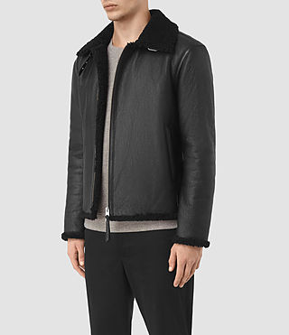 Mens Deklan Shearling Jacket (Black) - product_image_alt_text_4