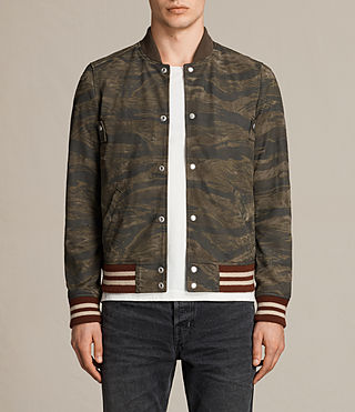 Mens Mason Suede Bomber Jacket (KHAKI BROWN CAMO) - product_image_alt_text_1