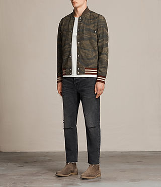 Mens Mason Suede Bomber Jacket (KHAKI BROWN CAMO) - product_image_alt_text_3