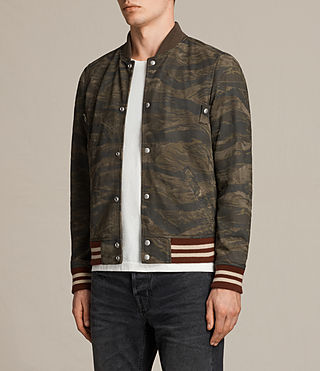 Mens Mason Suede Bomber Jacket (KHAKI BROWN CAMO) - product_image_alt_text_5