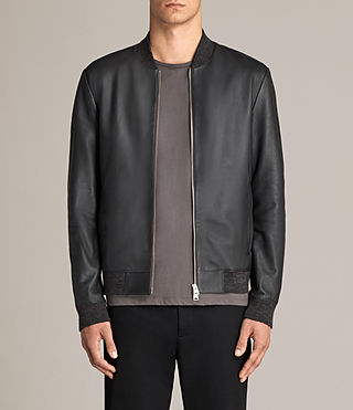 Mens Kieran Leather Bomber Jacket (SLATE BLUE) - Image 1