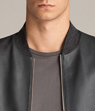 Mens Kieran Leather Bomber Jacket (SLATE BLUE) - Image 2