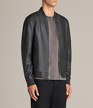 Mens Kieran Leather Bomber Jacket (SLATE BLUE) - Image 6